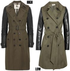 Leather patch trench coats.