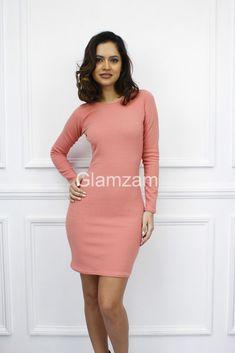 Glamzam  Nuovo da Donna Maniche Lunghe Mini Matita Stretch Abito  Elasticizzato  fashion   7bcd66b4281