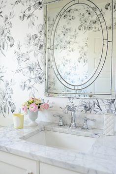 white bathroom & marble counter