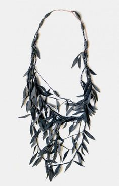 willow branch necklace, repurposed upcycled leather, design squish blog