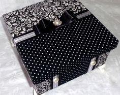 Caixa MDF forrada tecido preto/branco II