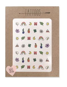 Temporary nail tattoos illustrated by Hartland Brooklyn that include a cloud with a lightning bolt, rainbow,  moon, butterfly, leaf, sun, two flowers, two potted cacti, four leaf clover and a mountain.