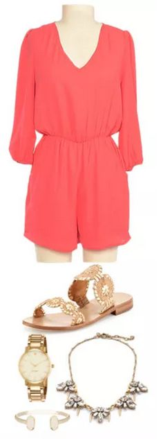 Rompers and flats are also a cute alternative to a sundress on Tour Day! { Plus this salmon is such a great summer color! }
