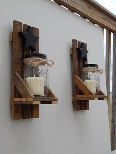 Mason Jar Candle Holder, Wall Sconce With Shelf and Star. Made With Reclaimed Tobacco Stick/ Tobacco Lath Wood by GrizzlyBearCreations on Etsy https://www.etsy.com/listing/228175526/mason-jar-candle-holder-wall-sconce-with