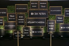 Atlantic Media's Pre-Dinner Reception: Social Supply Event Design and Production created a gallery wall-style step-and-repeat with framed images of the hosts' logos on a wall of greenery for Atlantic Media and CBS's pre-dinner cocktail reception on Saturday night at the Washington Hilton.