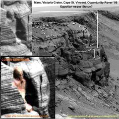 "Egyptian(esque) statue on Mars?  More here: http://www.marsanomalies.com/egyptianstatue - ORIGINAL NASA SOURCELINK HERE (located far-right midsection of outcropping. Download ""Full-Res JPEG""): http://photojournal.jpl.nasa.gov/catalog/PIA10210 - OFFICIAL FALSE-COLOR IMAGE: http://pancam.astro.cornell.edu/pancam_instrument/images/Sol1167B_P2419_L257F.jpg - OFFICIAL TRUE-COLOR IMAGE: http://pancam.astro.cornell.edu/pancam_instrument/images/Sol1167B_P2419_L257atc.jpg    NASA Ames Research Center"