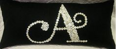 I think they are really nicely done. Check out the use of large and small buttons depending on the line weight. Very clever an. Button Letters, Sewing Crafts, Sewing Projects, Daughter Love, Daughters, Monogram Pillows, Little Girl Rooms, Mother Of Pearl Buttons, Velvet Pillows