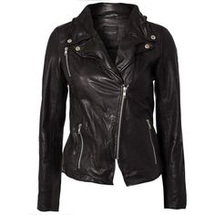 Selected Femme Foma Leather Jacket ($215) ❤ liked on Polyvore featuring outerwear, jackets, coats, leather jacket, tops, coats & jackets, black, womens-fashion, real leather jacket and thin leather jacket