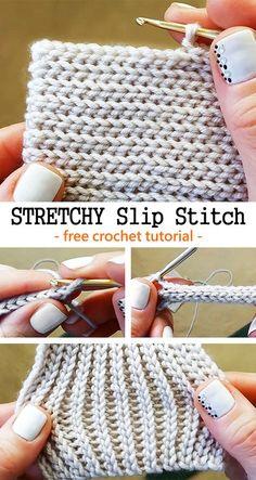 Crochet Stretchy Slip Stitch - knitting is as easy as 3 knitting . - Crochet Stretchy Slip Stitch – knitting is as easy as 3 Knitting boils down to three essent - Blog Crochet, Crochet Basics, Crochet Crafts, Crochet Yarn, Crochet Projects, Free Crochet, Crochet Ideas, Knitting Projects, Crocheted Scarf