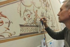 Painting an ornamental panel in the studio for a client in 2012:: Jeff Huckaby