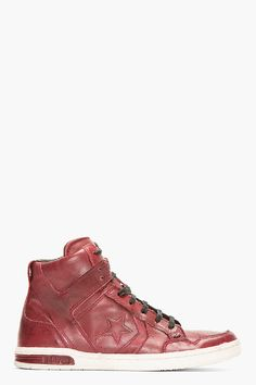 0de673d0e93 CONVERSE BY JOHN VARVATOS Red Leather Weapon High-Top Sneakers Fresh Kicks