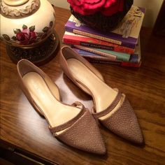 Nude Ivanka Trump D'orsay Flats Stunning pair of leather flats by Ivanka Trump. Leather wrapped heel. Gold details in snakeskin detailed top. Size 8.5. Very classy D'orsay styling. No box. Price is firm unless bundled. Ivanka Trump Shoes Flats & Loafers