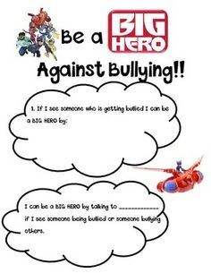 Students will write about being a big hero instead of a bully. Middle School Counselor, School Counseling, Anti Bullying Lessons, Counseling Psychology, Bullying Prevention, Character Trait, Too Cool For School, Bullies, Social Work