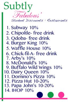 Restaurant Discounts for College Students! Good to know! College Essentials, College Hacks, School Hacks, College Checklist, College Planning, College Discounts, Student Discounts, College Years, College Life