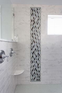 Bathroom Subway Tile Accent vertical subway tile shower stall, with waterfall accent. capiz