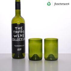 """Trinkglas / Becher aus Weinflasche in """"Olive"""" von Flaschenwerk auf DaWanda.com"""