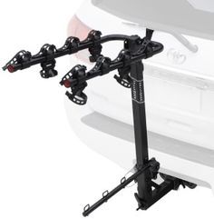 """The Hollywood Racks HR410 Road Runner 4-Bike Hitch Mount Rack features durable rubber cradles with anti-sway stabilizers, this heavy-duty rack mounts on a 1.25-inch hitch and holds four bicycles using a lower anti-sway tie-down bar for extra stability. The rack tilts for cargo-area access, and the arms and tie-down bar fold when not in use. The hitch system is """"no-wobble/no-tools"""" and includes a locking pin and 9-foot security cable. The rack carries a limited warranty against defects."""