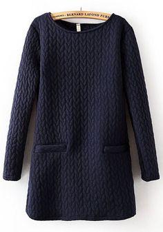 Navy Blue Plain Long Sleeve Dress