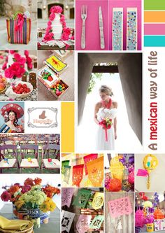 Colours and inspiration for mexican wedding. Love it!  Mariage mexicain, on aime!