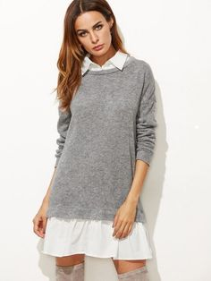 2f4451cbf8ed49 online shopping for SheIn Women s Contrast Collar Hem Color Block 2 In 1  Basic Sweater Dress from top store. See new offer for SheIn Women s  Contrast Collar ...