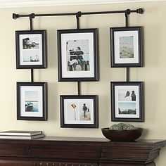 Create and display a collage of your favorite photos with the Wall Solutions rod and frame set. This set takes the guesswork out of arranging photos with pre-arranged frames to create a grouping of photos.