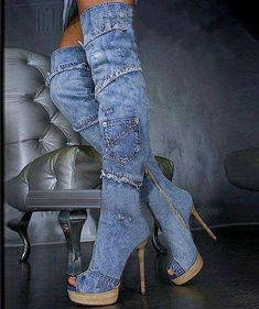 Fashion denim high heel #boots