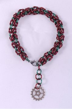 Red and Green Steampunk Chainmaille Byzantine Holiday by ChainPunk