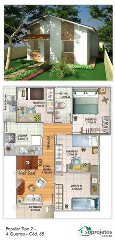 60,77 METROS QUADRADOS.  Residência de 4 dormitórios e 1 banheiro. Possui sala de estar e jantar conjugados. Cozinha e área de serviço.