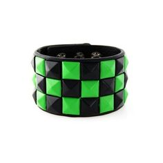 Green/Black Checkered Studded Black Leather Bracelet ($3.99) ❤ liked on Polyvore featuring jewelry, bracelets, accessories, green jewelry, green bangles, studded jewelry, leather jewelry and leather bangle