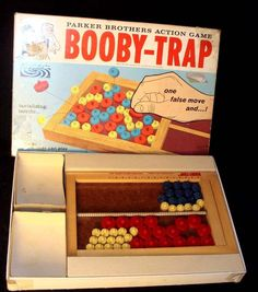 BOOBY TRAP BOARD GAME PARKER BROTHERS 1965 - we loved this game and could barely get through the instructions because you kept having to say Booby and that's funny when you're a kid.