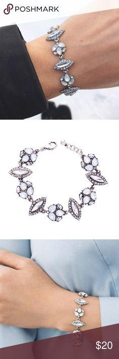"""Crystal Bracelet Beautiful bracelet, white opal glass, clear crystals. Lobster clasp. 6.5"""" with 1.5"""" extender. Antique rhodium plated.brand new in package unbranded Jewelry Bracelets"""