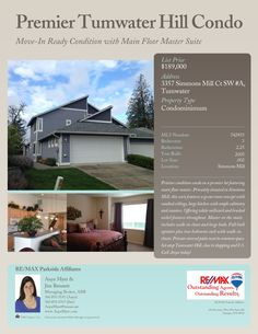 3357 Simmons Mill Ct SW #A, Tumwater WA 98512 $189,000 3 bd, 2.25 bath, 1789 sq ft, built in 2005 #olympia #olyhomes #wa #realtor #remax