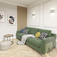 """Polubienia: 15, komentarze: 2 – Aleksandra Janiszek (@ajaniszek.architekturawnetrz) na Instagramie: """"Ten projekt nie należał do najłatwiejszych :)⠀⠀⠀⠀⠀⠀⠀⠀⠀ Zaproponowaną w stanie deweloperskim kuchnię…"""" Sofa, Couch, Furniture, Home Decor, Living Room, Settee, Settee, Decoration Home, Room Decor"""