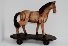 TOYS: Horse on Wheels Hand Painted Early 1900's