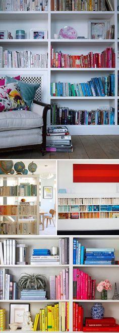 http://plentyofcolour.com/wordpress/wp-content/uploads/2012/08/plentyofcolour_bookshelves_uniquecolours2.jpg    Colour coordinated books - love it!