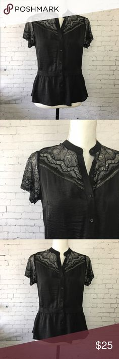 """Who What Wear Lace Blouse Cute and sweet blouse from Who What Wear. Lace sleeves and shoulders and goes in at the waist for a figure flattering fit. 24"""" long and 19"""" across the chest when laying flat. Polyester, nylon and spandex. Excellent condition. ASOS Tops Blouses"""