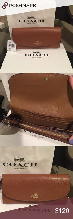 Authentic Coach Wallet in Camel Brown/Tan Color Authentic Coach Wallet (brand new with tag). Camel brown/Tan color, lots of room for credit cards and zipper for coins. Coach Bags Wallets