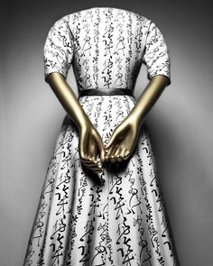 """Christian Dior (French, 1905–1957) for House of Dior (French, founded 1947).""""Quiproquo"""" cocktail dress, 1951. The Metropolitan Museum of Art, New York. Gift of Mrs. Byron C. Foy, 1953 (C.I.53.40.38a-d) Photography © Platon #ChinaLookingGlass #AsianArt100"""