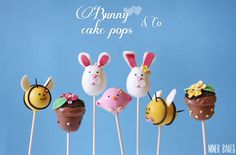 {Sweet Table} Easter Candy Bar + Bunny Cake Pops Tutorial - by niner bakes (photo: bee cake pops, flowerpot cake pops, bird cake pops)