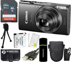 Canon PowerShot ELPH 360 HS 20.2MP 12x Zoom Full-HD 1080p Wi-Fi Digital Camera (Black) + SanDisk 32GB Card + Reader + Spare Battery + Case + Accessory Bundle. Kit Includes 12 Products: Canon PowerShot ELPH 360 HS Digital Camera + NB-11LH Lithium-Ion Battery Pack + CB-2LF Battery Charger + WS-800 Wrist Strap + Limited 1-Year Warranty. SanDisk 32 GB 320x UHS-I Class 10 High-Speed SDHC Memory Card + Card Reader + Memory Card Wallet + Spare Battery + Tabletop Tripod + Padded Camera Case + USB...