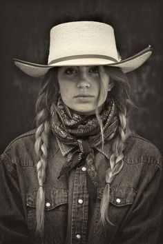 Traditional Ranch wear out West. Cowboy hat, wild rag and braids. Traditional Ranch wear out West. Cowboy hat, wild rag and braids. Foto Cowgirl, Cowgirl And Horse, Cowboy And Cowgirl, Cowgirl Style, Cowboy Hats, Western Style, Country Western Fashion, Vintage Cowgirl, Gypsy Cowgirl
