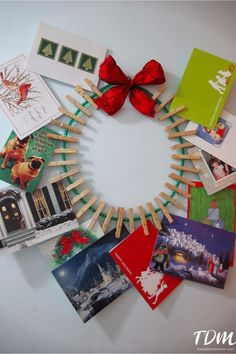 Check out this nifty way to display Christmas cards... a DIY Christmas card wreath!