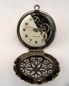 VISIBLY LOCKED Steampunk, goth filigree locket pendant necklace