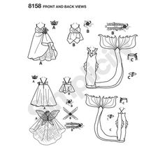 "Simplicity Pattern 8158 Fantasy Costumes for 18"" Dolls"