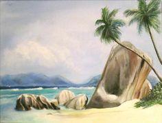 Tropical beach. Acrylic on canvas by Sasha Taylor