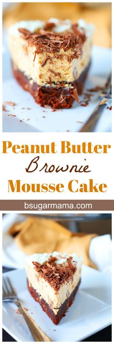 Peanut Butter Brownie Mousse Cake made with a brownie layer, peanut butter mousse filled with peanut butter cups and toffee chips, and topped with whipped cream. This is an easy dessert recipe you will love!