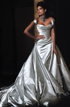 Dramatic and sensuous, vintage Hollywood glamour. Our Gabriella wedding dress is made of meters and meters of fine Italian silk duchesse satin, skilfully cut and sculpted over concealed corsetry to create a silver screen silhouette. Beautiful Wedding Gowns, Elegant Wedding Dress, Designer Wedding Dresses, Beautiful Dresses, Elegant Bride, Timeless Wedding, Dress Wedding, Gorgeous Dress, Wedding Reception