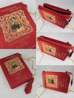 Dieses echte Buch habe ich bei einem der letzten Flohmärkte gekauft und nun zu einer sehr edlen Tasche verarbeitet. Ich habe eine ebenfalls gebrauchte Krawatte und Reißverschluss dazu kombiniert. Es entstand eine in sich wirklich stimmige Tasche für einen schönen Anlass. Der Bucheinband ist mit Stoff überzogen und ein Bild, sowie Goldprägungen zieren den Einband. Die kräftige rote Farbe des Buches wird alle Blicke auf sich ziehen und Ihren guten Geschmack bei der Wahl von Accessoires… Gold, Bags, Fashion, Accessories, Red Paint, Book Covers, Tie, Starter Motor, Totes