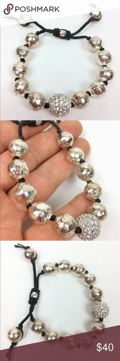 """TAI bracelet adjustable 925 Sterling beads AUTHENTIC TAI hammered Sterling silver beads and one crystal pave bead hand knotted onto black cord...fully HALLMARKED and signed adjustable to 8.25"""" tai Jewelry Bracelets"""