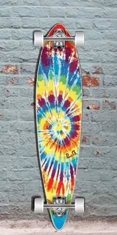 The Punked Tiedye Original is a great flat pintail longboard made of Canadian Maple. Cheap 40 inch longboard skateboard for carving and sliding. Cruiser Skateboard, Vans Skateboard, Skateboard Deck Art, Penny Skateboard, Surfboard Art, Cool Skateboards, Skateboard Design, Skate Long, Pintail Longboard